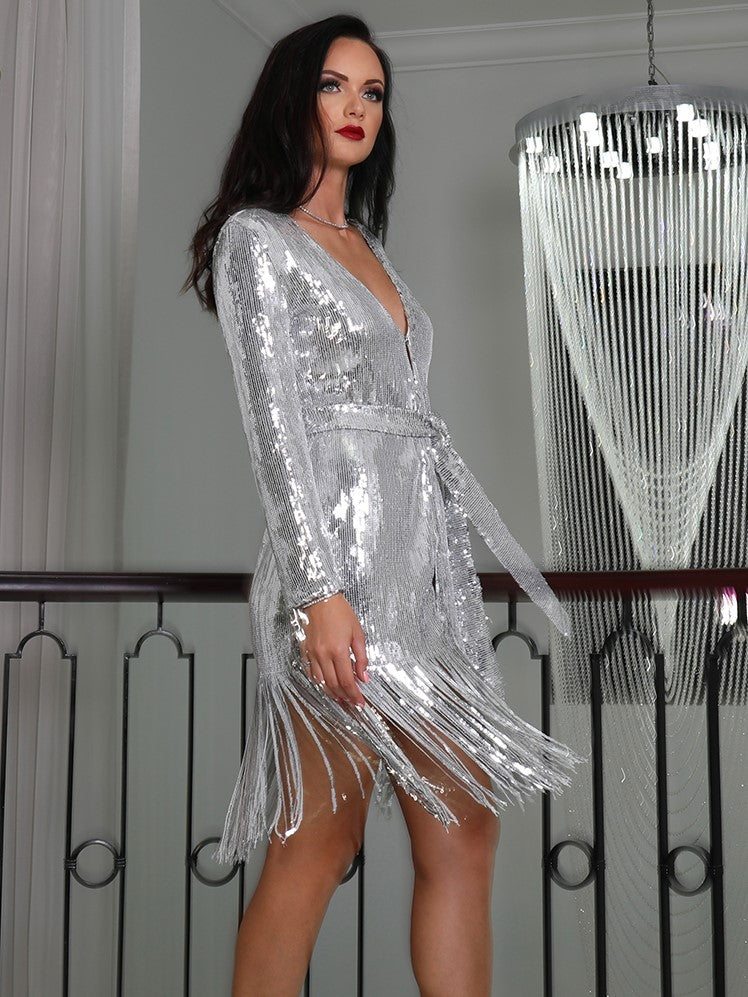 Silver Sequin Long Sleeve Jacket Dress