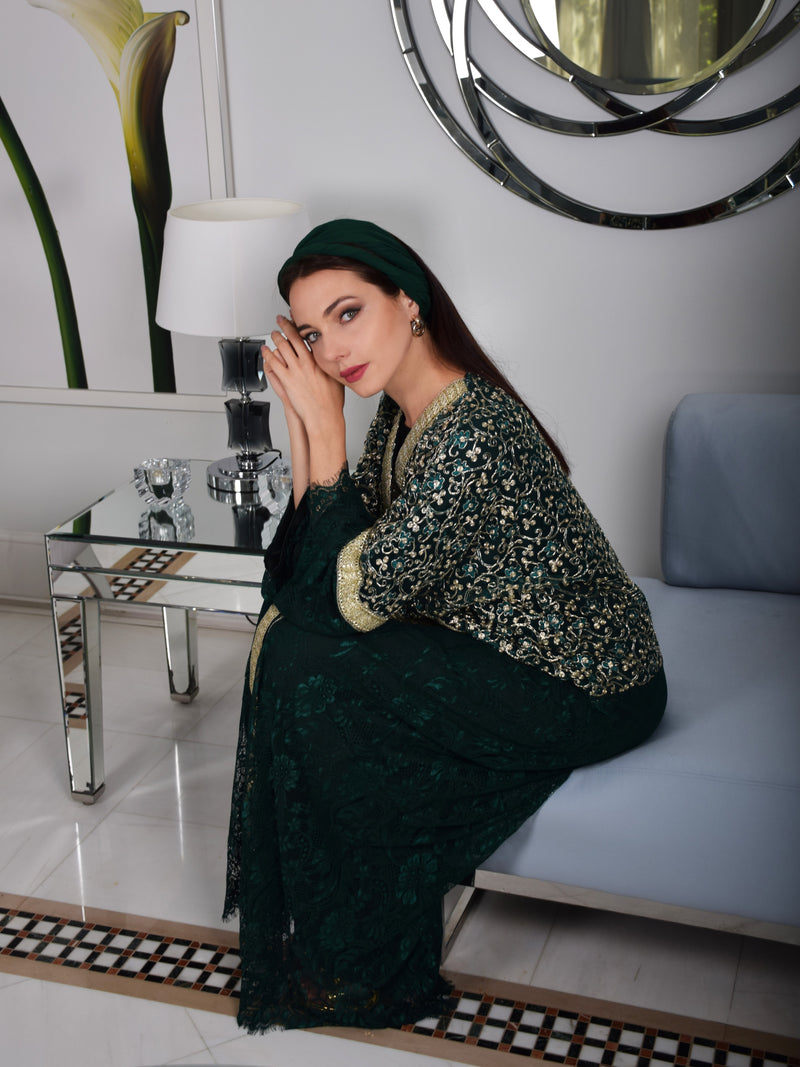 Green Abaya with Metallic Gold Embroidery