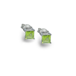 Princess Cut Green Peridot Stud Earrings