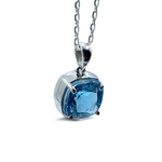 Cushion Cut Blue Topaz Bezel Set Pendant