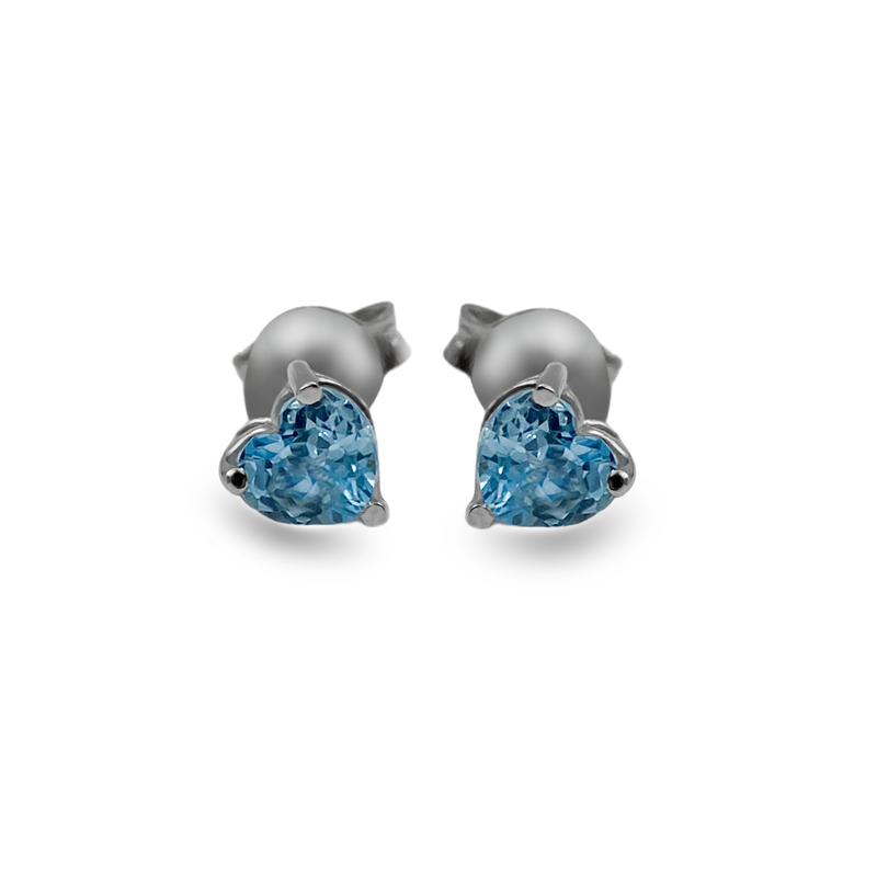 Blue Topaz Heart Shaped Stud Earring