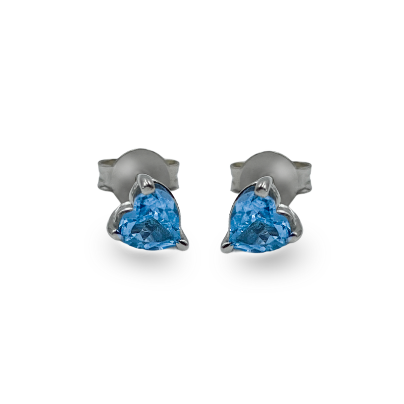 Heart Shaped Blue Topaz Studs