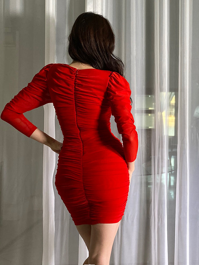 Red Long Sleeve with Sweetheart Neck Bandage dress with Sheer Overlay