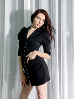 Black Mini  Jacket Dress with Long Sleeves