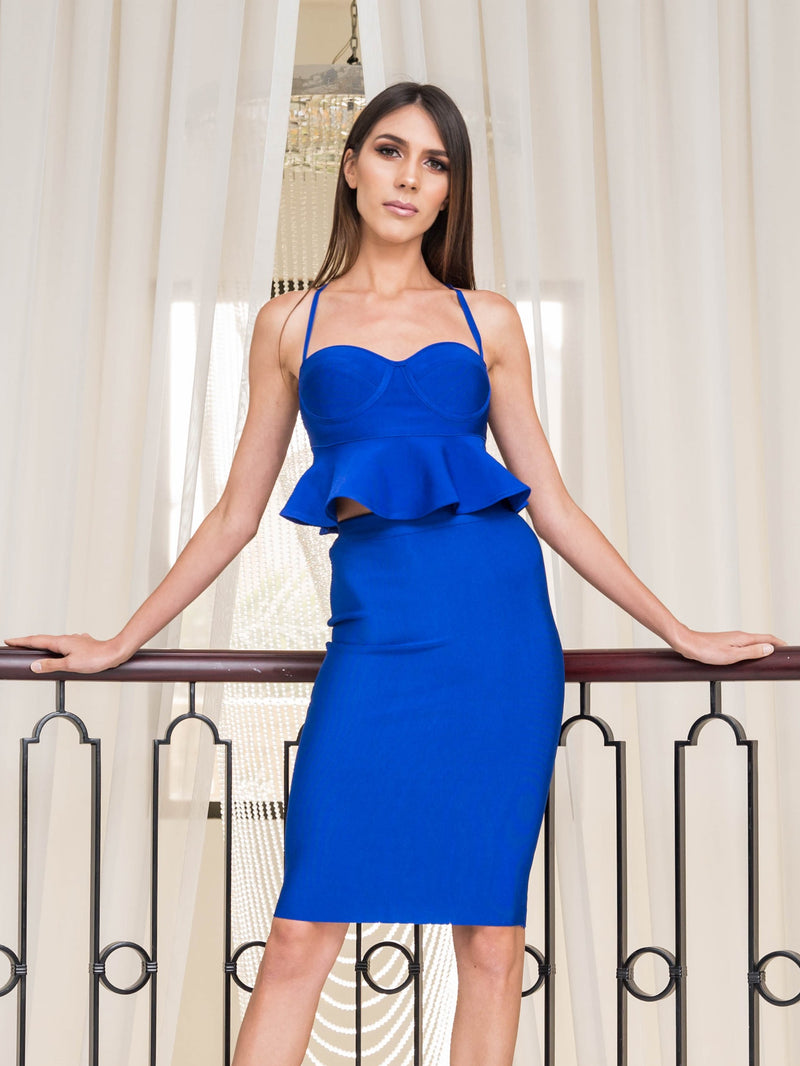 Blue Bandage Two Piece Strappy Peplum Top and Midi Skirt