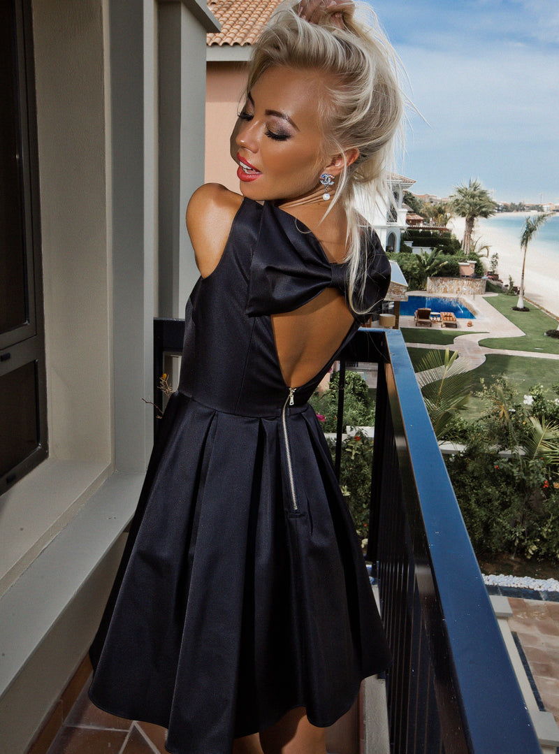Black Satin  A-line Mini Dress with Bow Detail