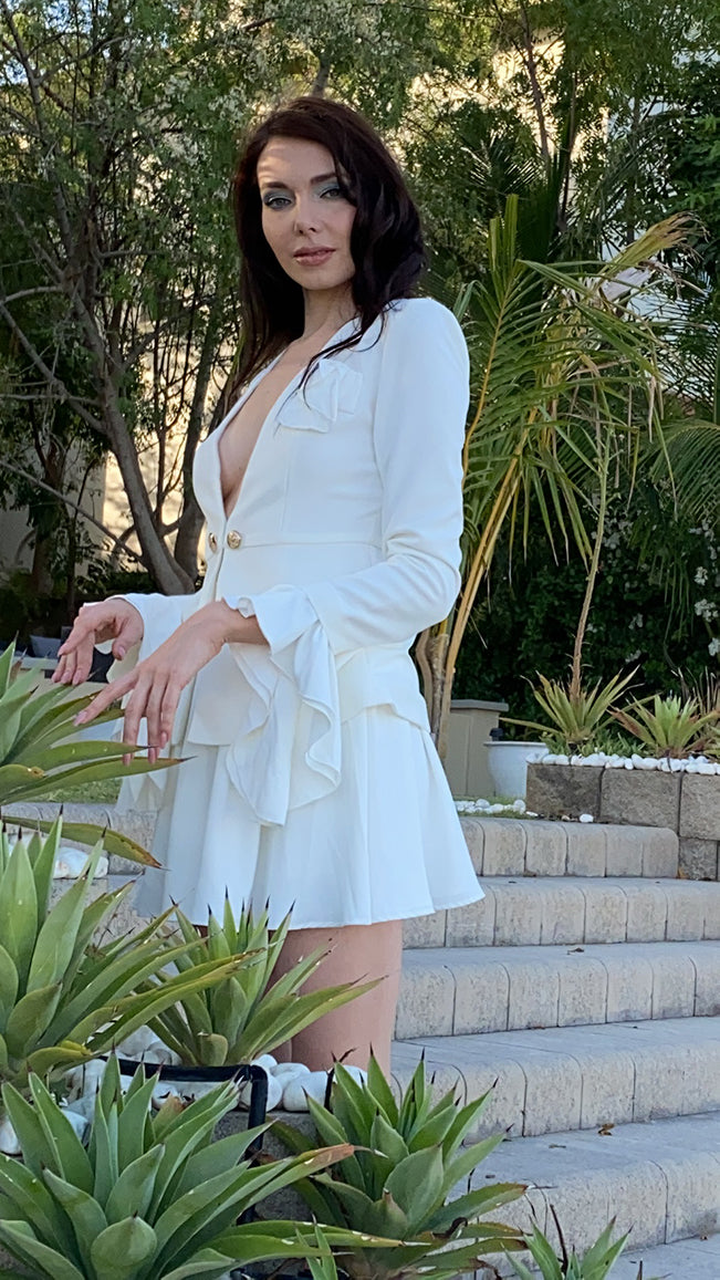White Two Piece Set Jacket and Flared Mini Skirt