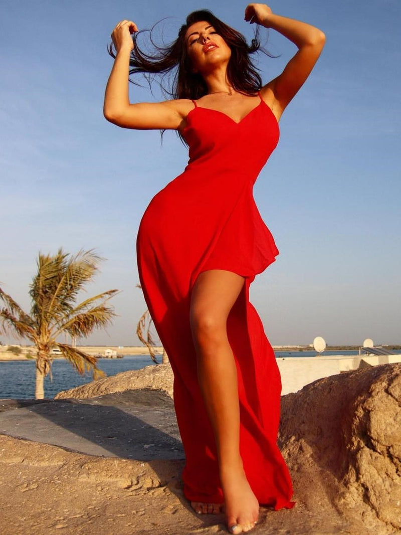 Red Maxi Dress with Spaghetti Strap with Slit