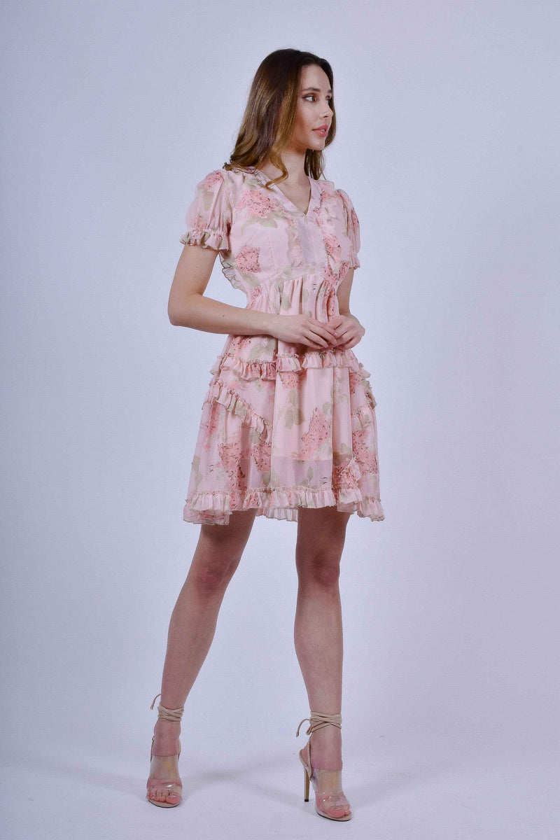 Pink Floral Mini Dress with Short Sleeves