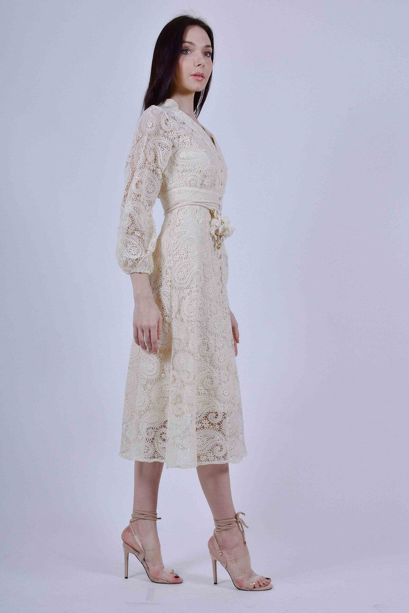Off-White Lace Midi Dress