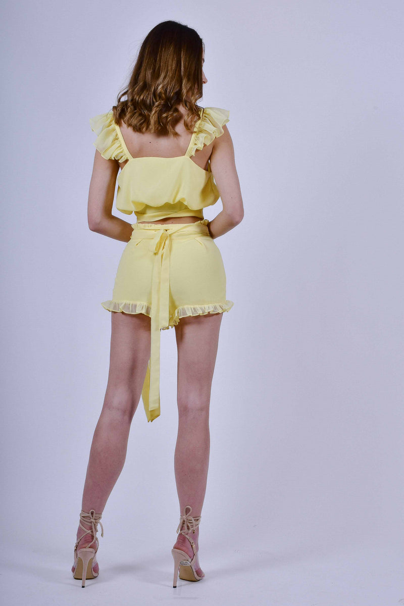 Yellow Chiffon Top and Shorts Set