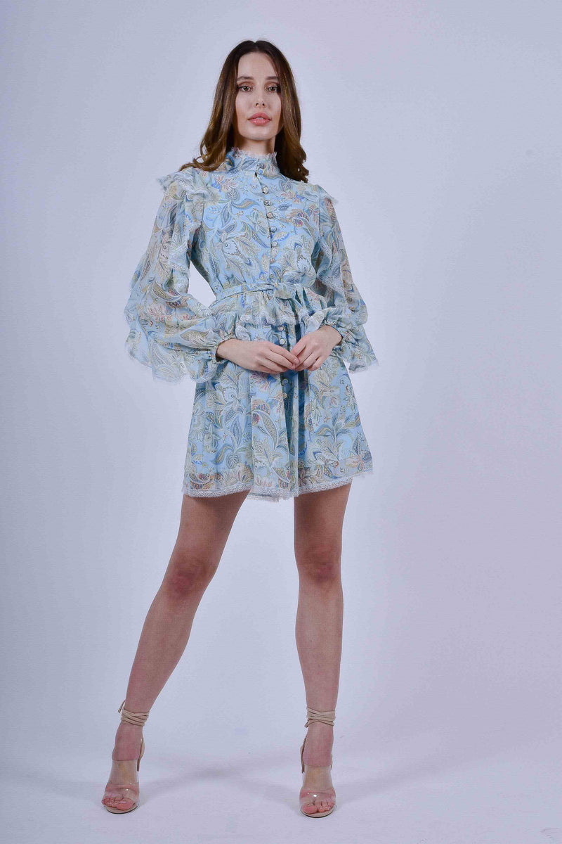 Blue Floral Long Sleeve Mini Dress with Ruffle and Lace