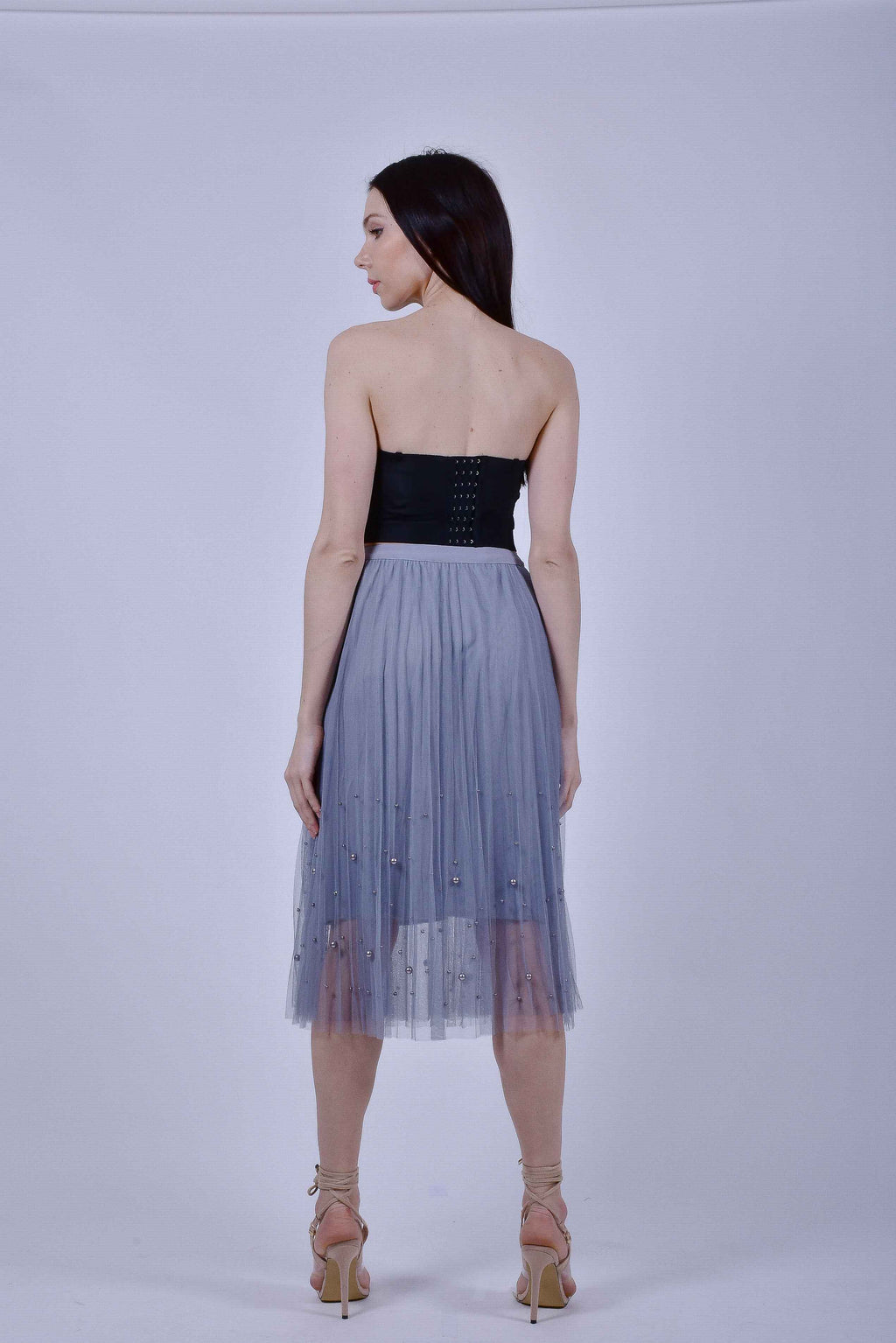 Gray Tulle Skirt with Pearls