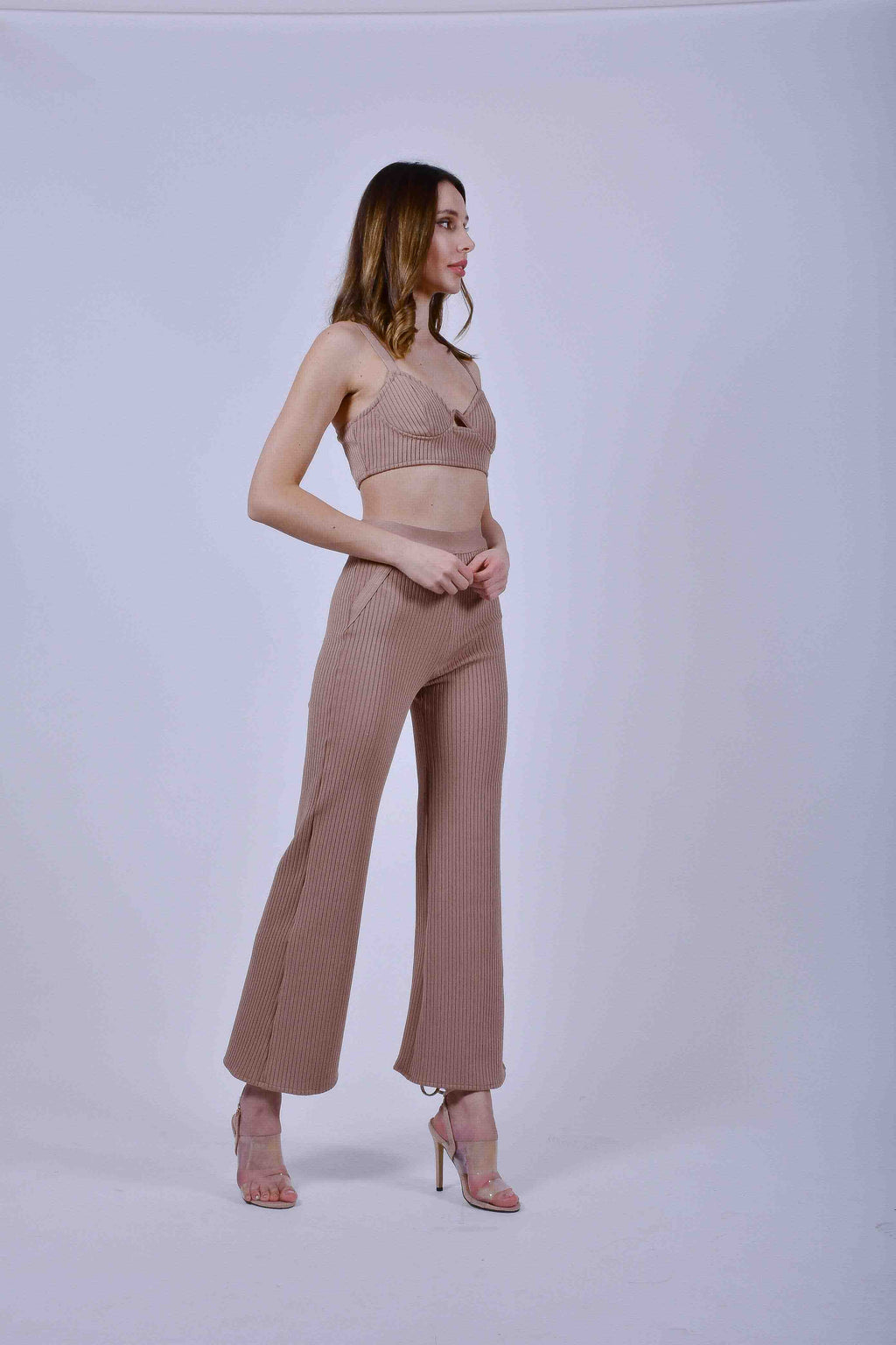 Tan Crop Top and Pants Set