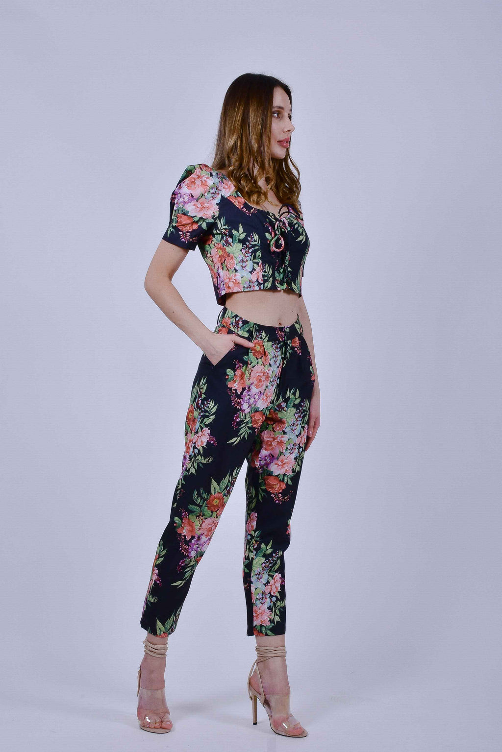 Black Floral Crop Top and Pants