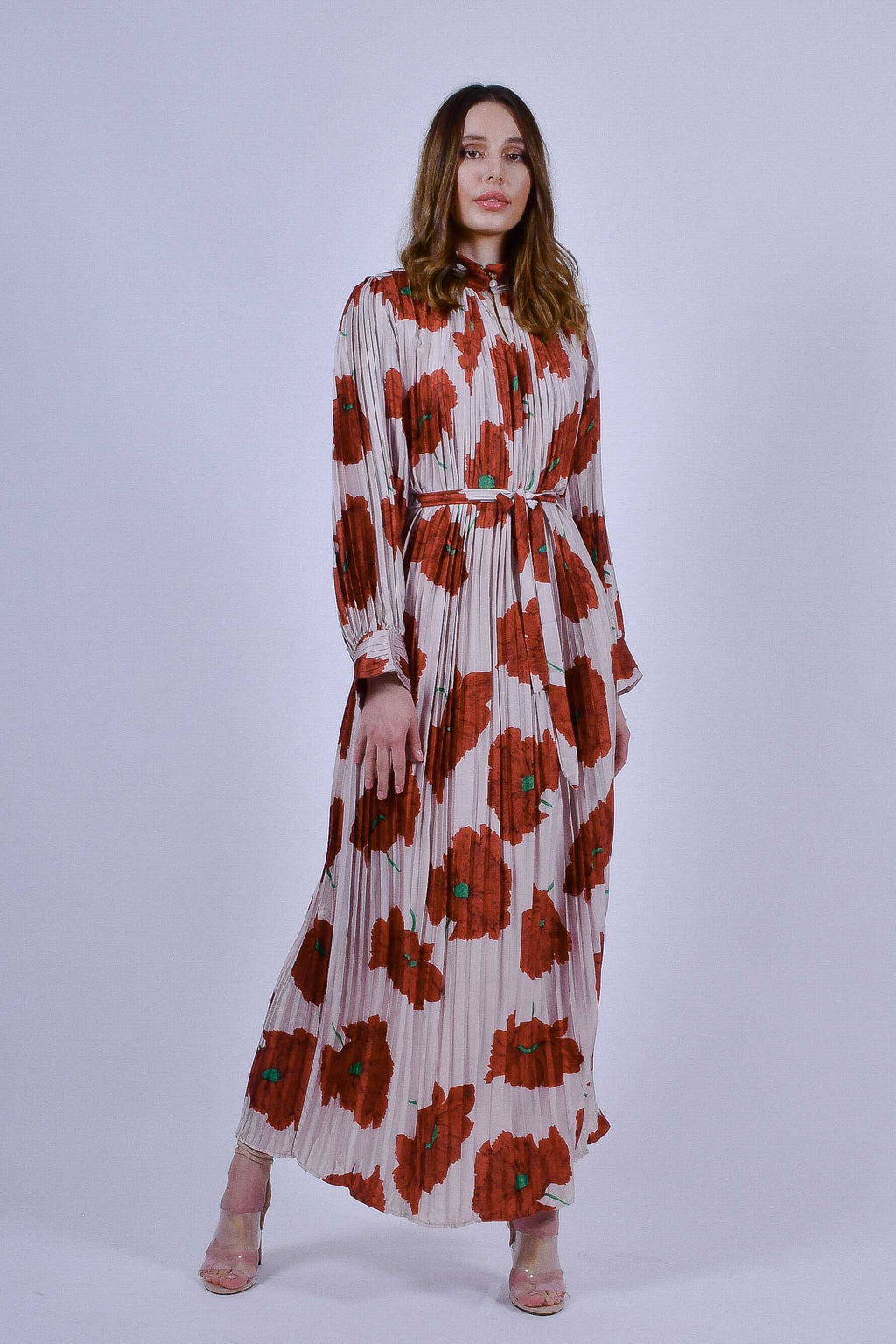 White and Red Floral Pleated Maxi Dress with Long Sleeves