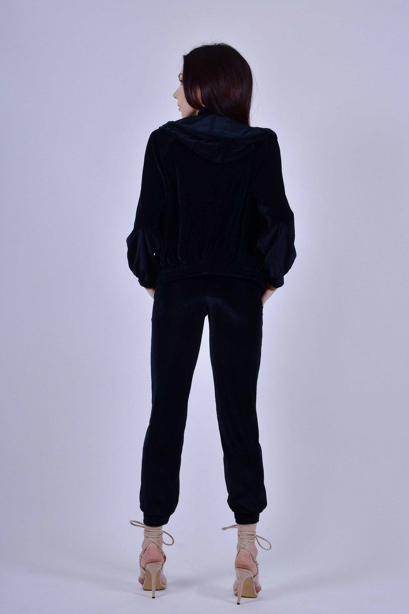 Black Velour 3 Piece Track Suit