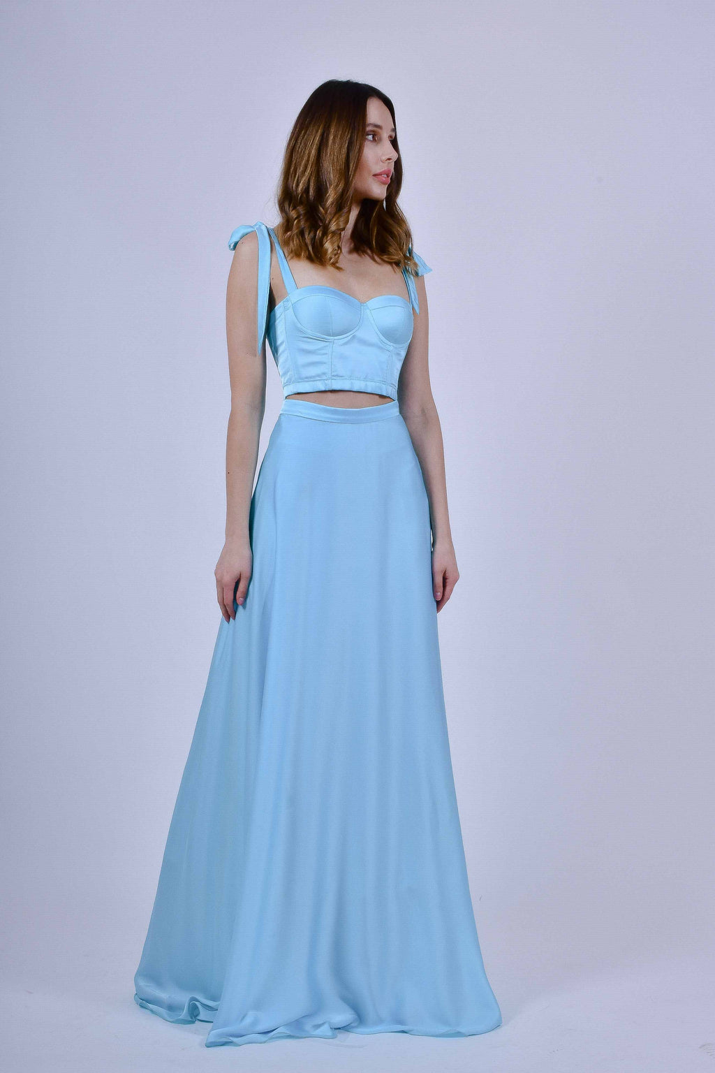 Teal Blue Two Piece Corset and Skirt In Armani Silk