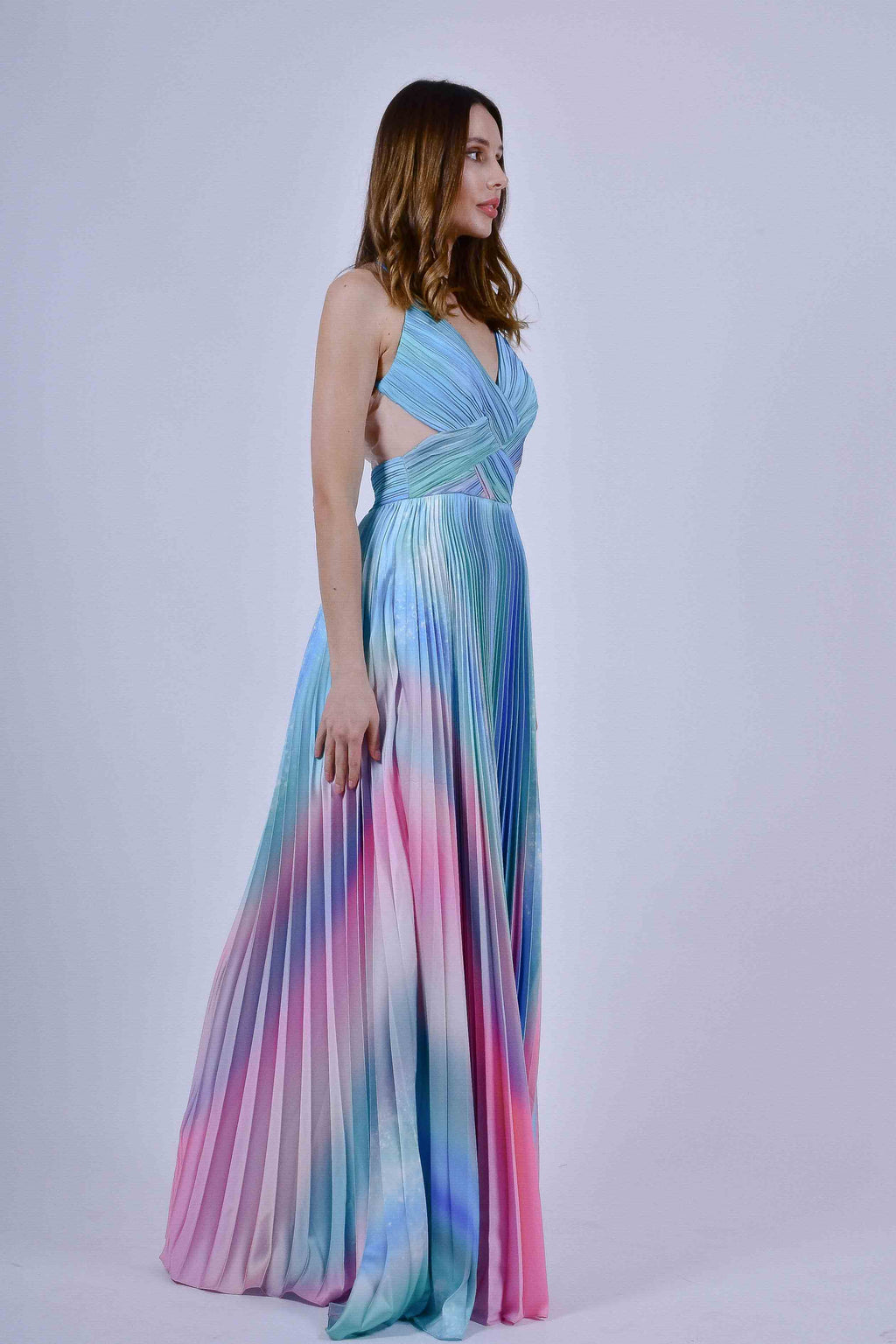 Rainbow Colored Ombre Satin Evening Gown with Spaghetti Straps