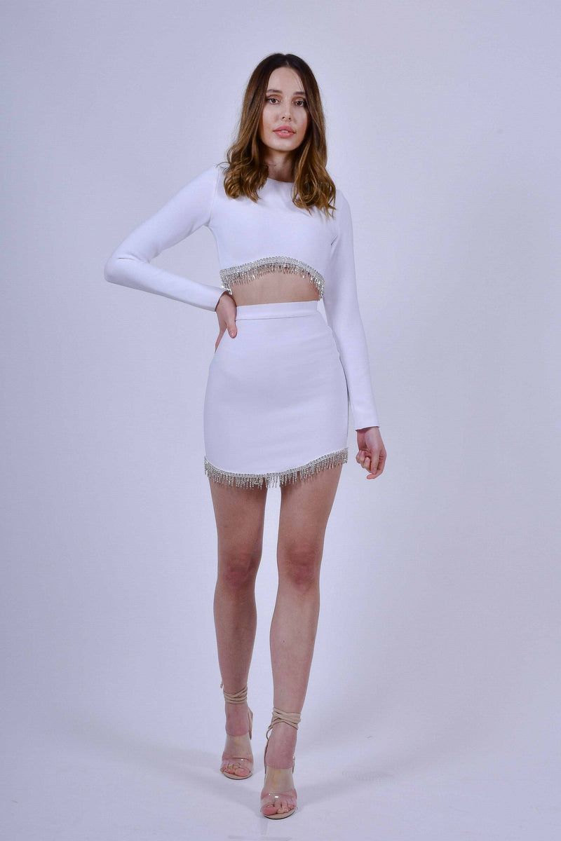 White Bandage Crop Top and Mini Skirt with Crystals