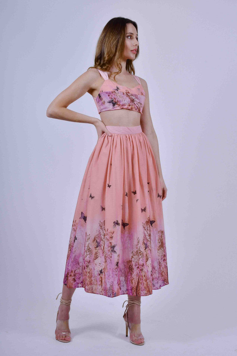 Pink Crop Top and Midi Skirt with Butterlfy Print