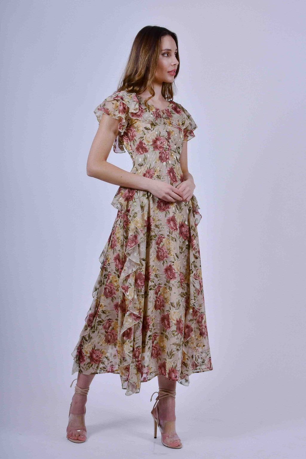 Brown Floral Maxi Dress