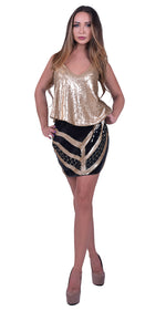 Black and Gold Sequins Mini Skirt