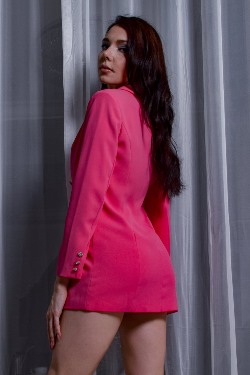 Hot Pink Jacket Mini Dress With Crystal Buttons