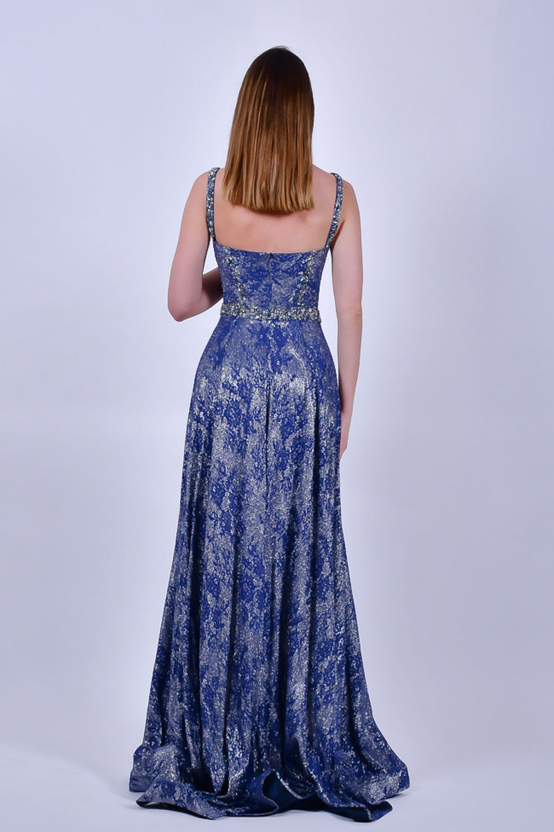 Blue Sequins A-line Gown