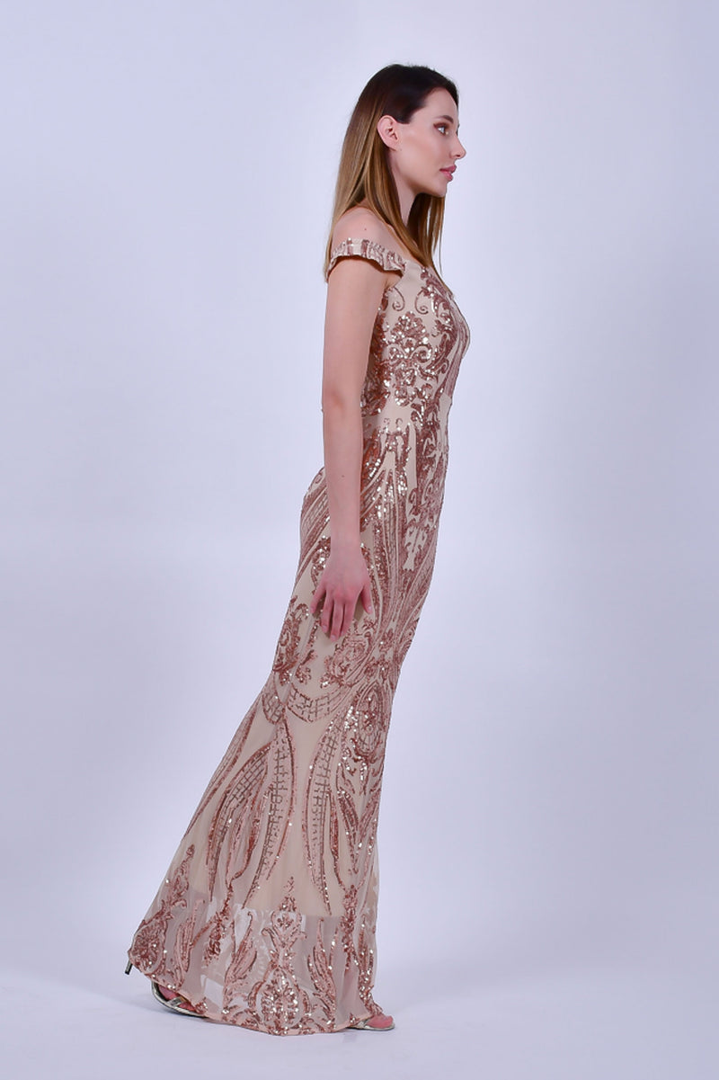 Rose Gold Sleeveless Sequins Gown