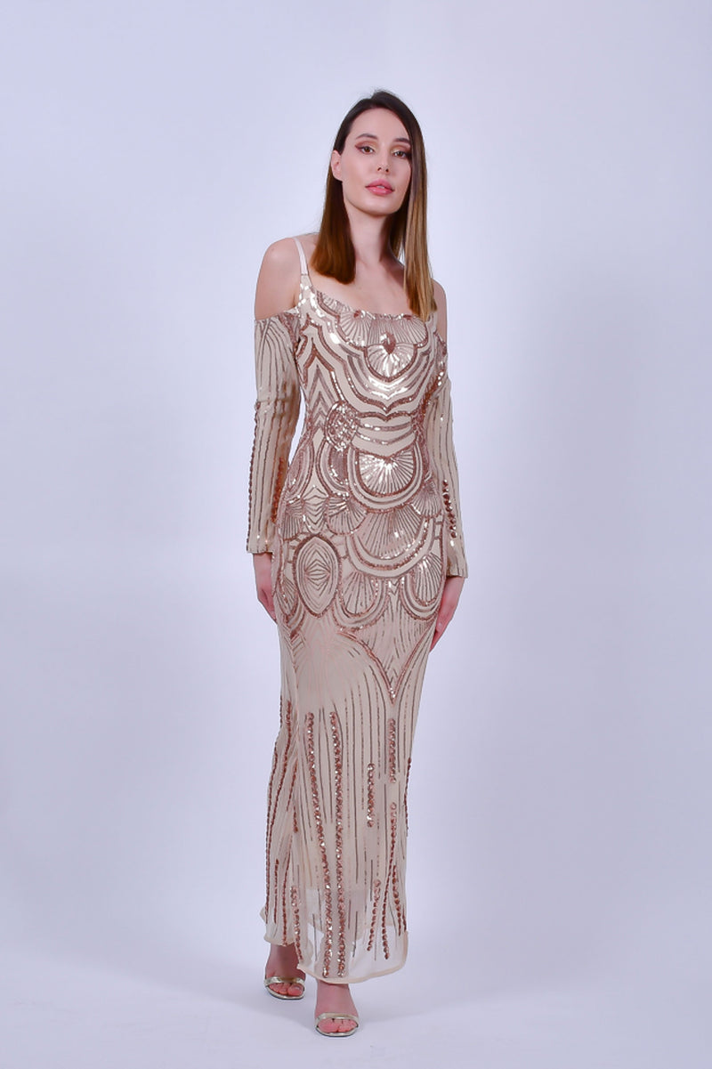 Gold Sequin Evening Gown with Cold Shoulder