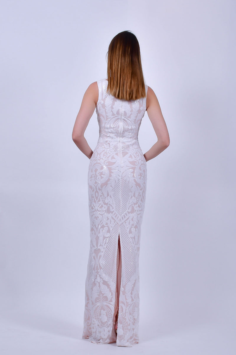 White Sequence Sleeveless Gown