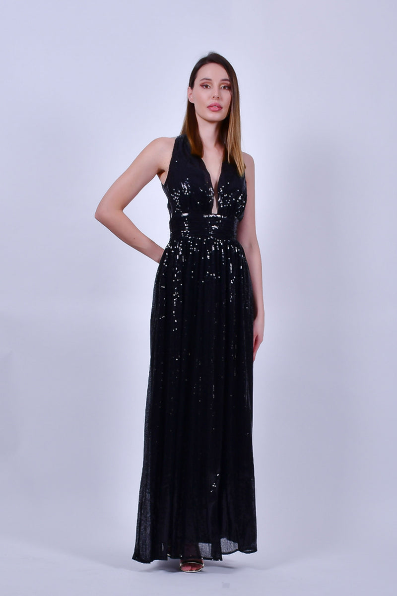 Black Sequins Halter Evening Gown