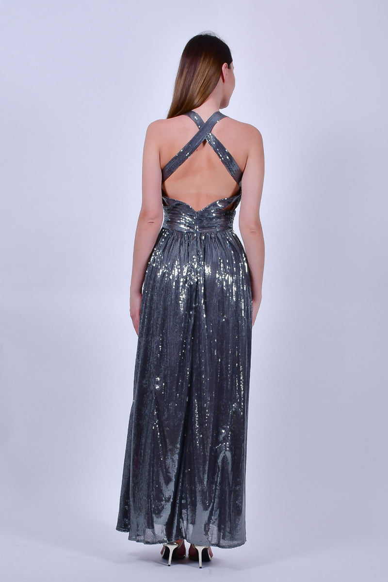 Gunmetal Gray Silver Sequin Gown