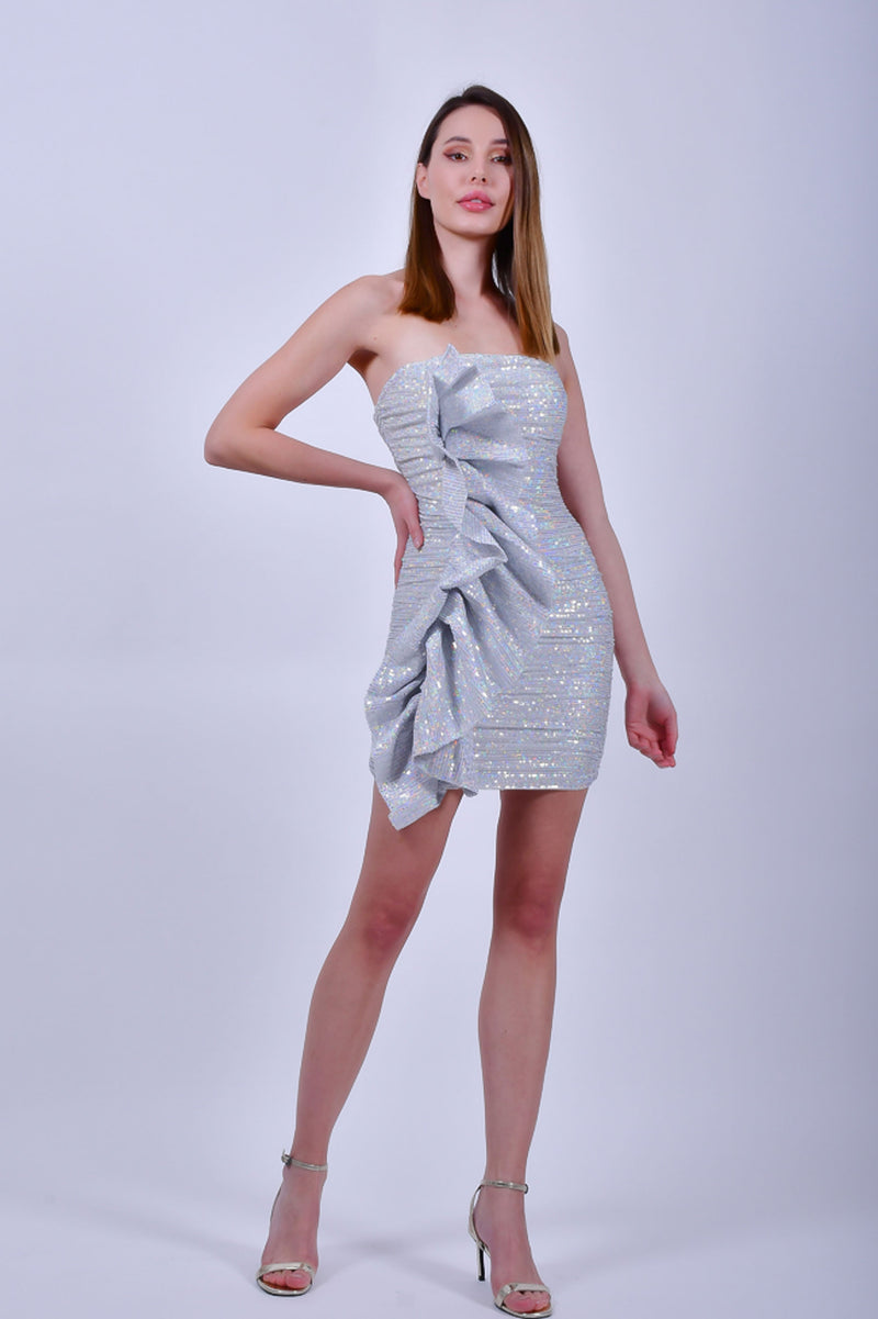 Silver Strapless Sequin Mini Dress with Ruffles