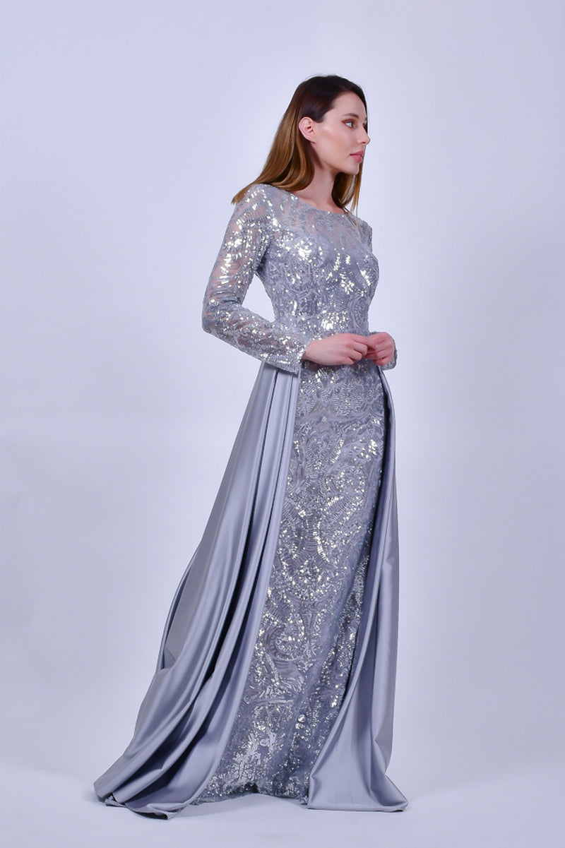 Silver Sequins and Satin Kong Sleeve Evening Gown