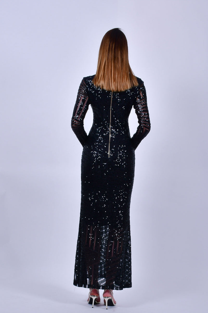 Black Long Sleeve V Neck  Sequins Gown