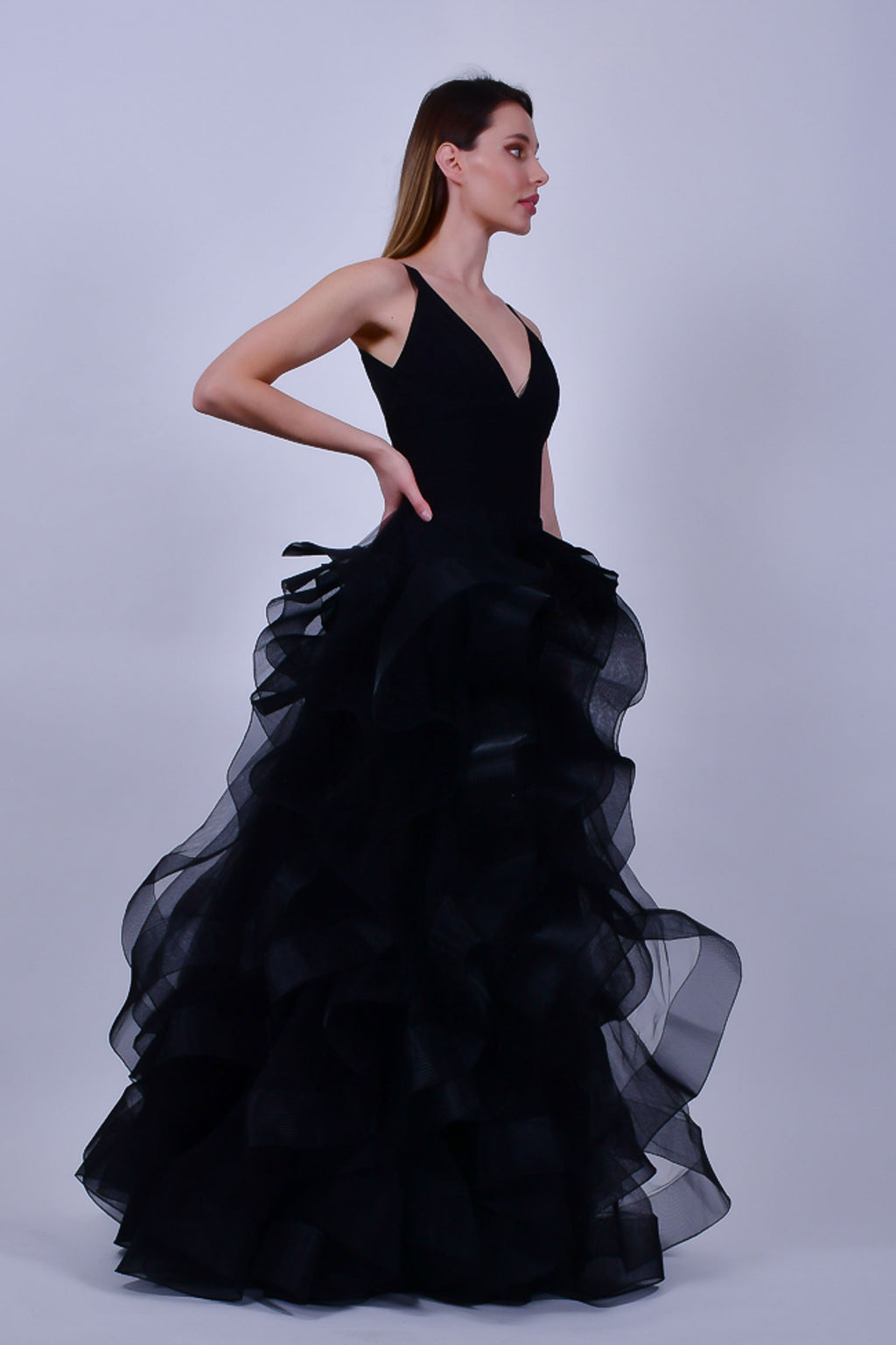 Black Bandage Gown with Ruffled Tulle