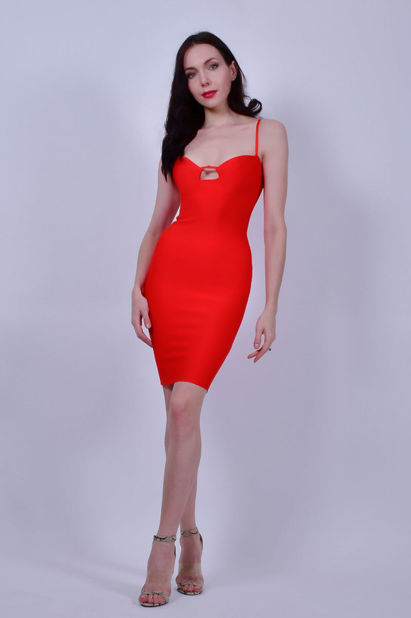 Red Bandage with Spaghetti Straps Midi Dress