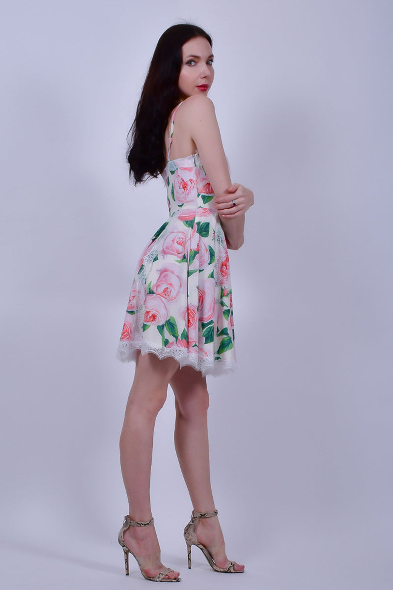 White Floral Dress with Lace