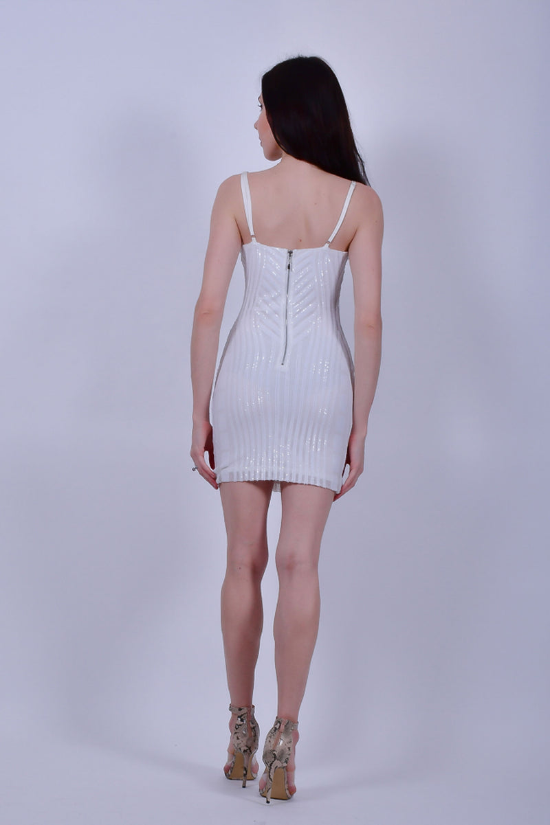 White Strappy With White Sequins Mini Sequins