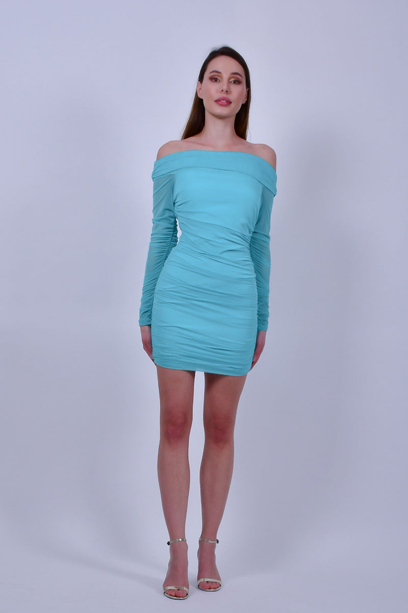 Turquoise  Off the Shoulder Long Sleeve Mini Dress
