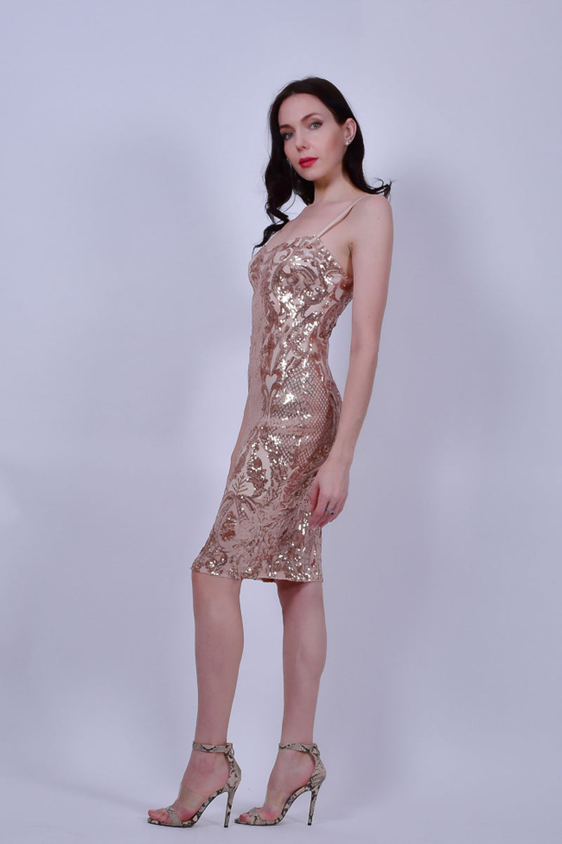 Rose Gold Sequins Bodycon Midi Dress