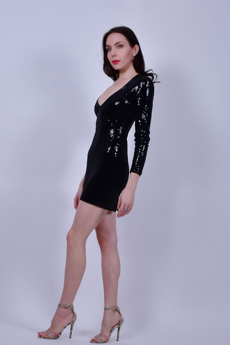 Black Long Sleeve  V-neck Sequins Bodycon Mini Dress