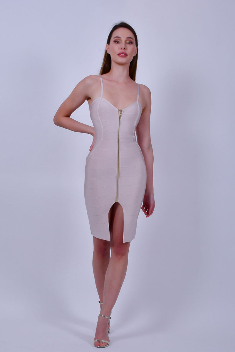 Beige Spaghetti Strap Bandage Mini Dress with Front Zipper and Slit