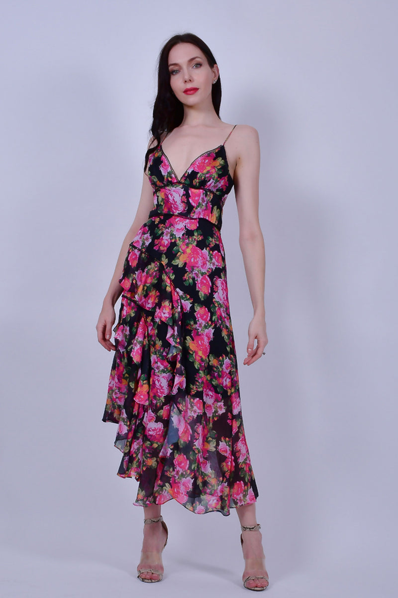 Black Floral Midi Dress with Spaghetti Straps and Ruffles