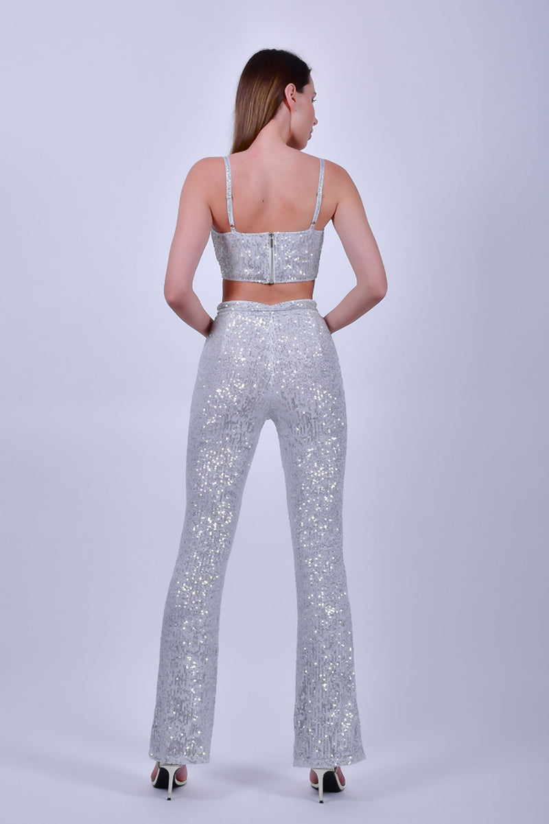 Silver Sequin  Top and Pants Set