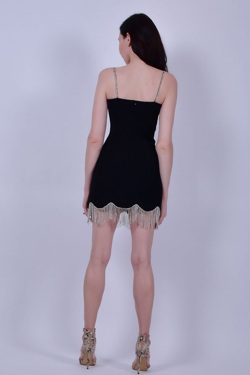 Black Mini Dress with Crystals