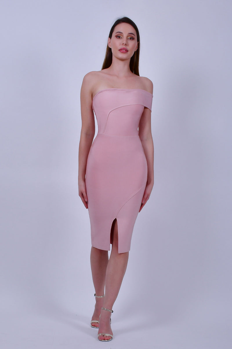 Pink Bandage  Asymmetric Midi Dress