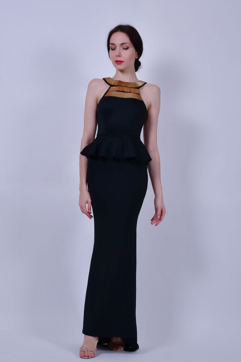 Black Maxi Dress with High Neck Gold Detail